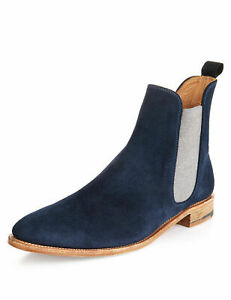 mens handmade boots navy blue chelsea leather white formal