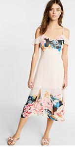 NWT-Express-Floral-Trim-Cold-Shoulder-Midi-Dress-Value-90-Sexy-SZ-XS-S-M-L