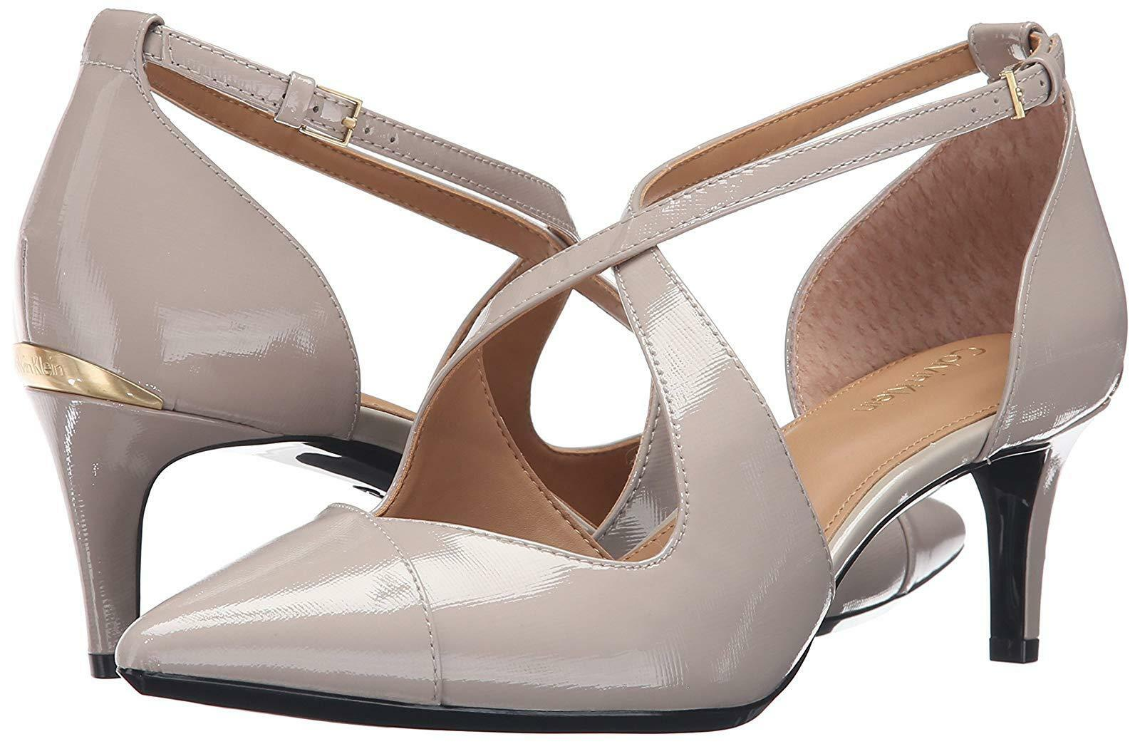 6M NEU Calvin Klein Pamette Mini Saffiano Clay Strappy Leder Damens Schuhes