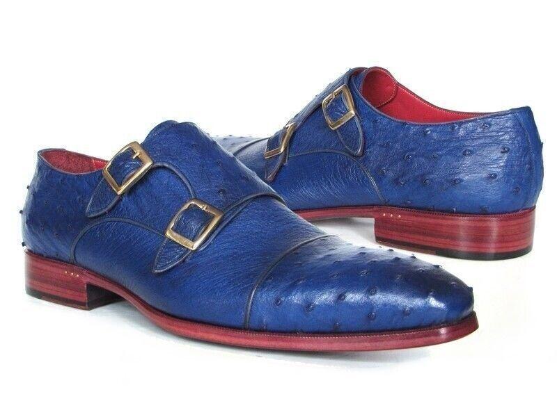 conveniente Paul Paul Paul Parkman Uomo Genuine Ostrich Double Monkstraps Dress scarpe Sax blu 37U33  prodotti creativi