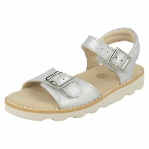 7e98405cc76c Image is loading GIRLS-CLARKS-SILVER-SANDAL-CROWN-BLOOM