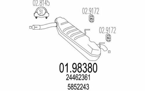 MTS Endschalldämpfer für OPEL VECTRA SIGNUM 01.98380 Mister Auto Autoteile