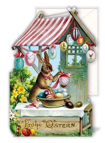 Edition Tausendschön*Ostern*Doppelkarte*ausgestanzt*Nostalgie*Hase/&Marktstand