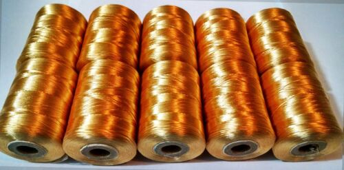 10 X Dorado Nylon Fuerte Hilo de Coser Bordado Carretes Seda Resistente Carretes