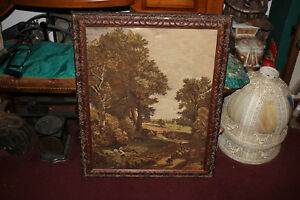 Antique-Victorian-Needle-Point-Framed-Boy-Dog-Country-Farm-Trees-Large