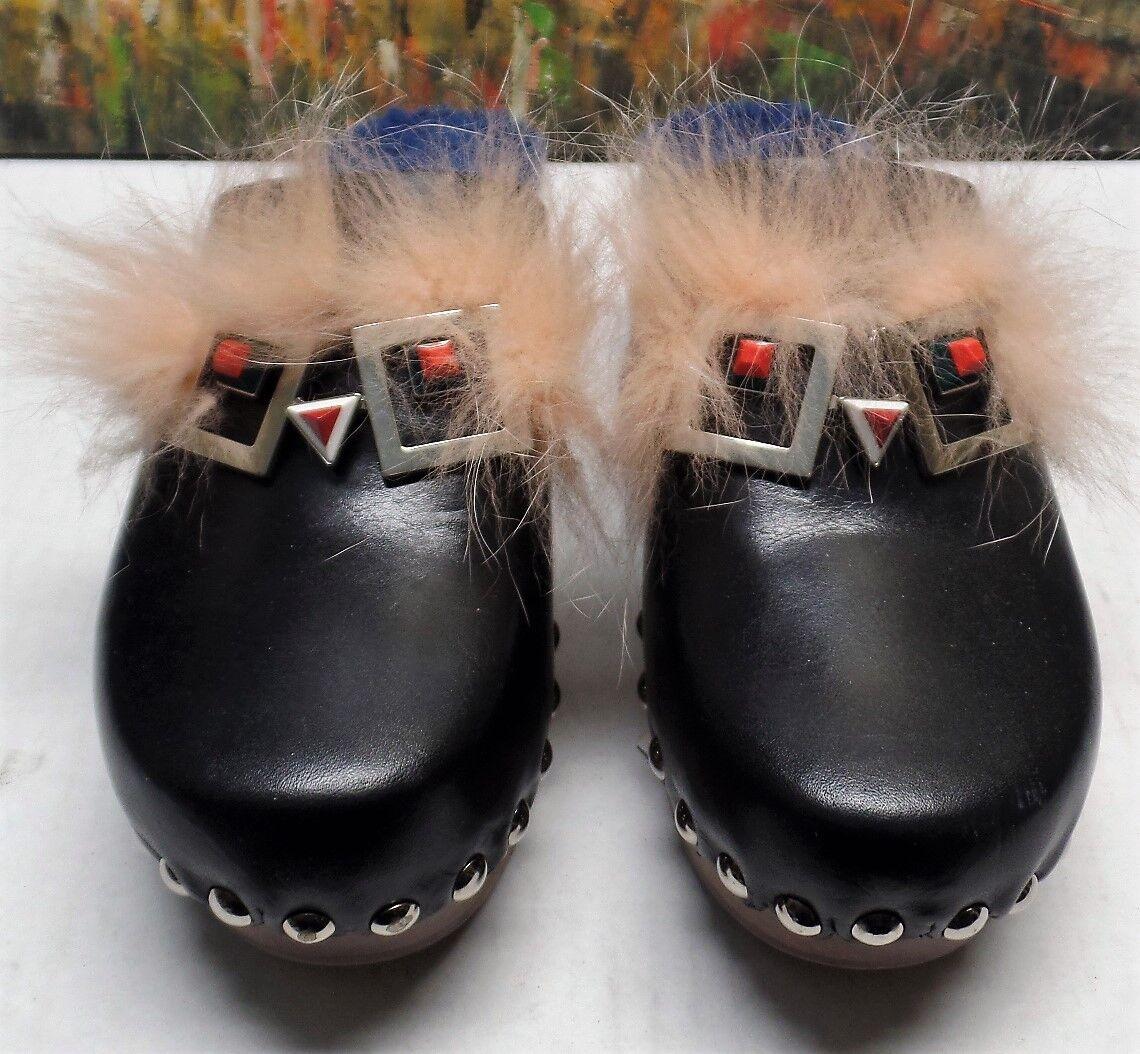 Fendi Faces Genuine Fox Fox Fox Fur & Shearling Clog - Größe EU 39.5 -  950 1f3a0e