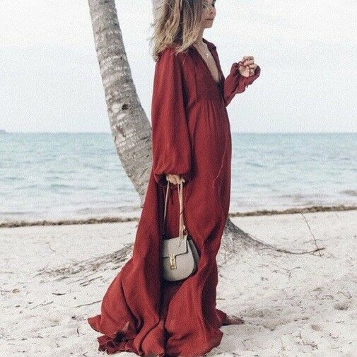ZARA STUDIO MAROON BURGUNDY MAXI FLOWING DRESS Dimensione S SMALL 8