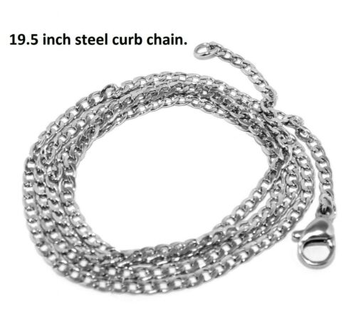 Silvery Sloth Pendant Necklace with Steel Chain and Pouch