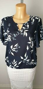 NEW-Ex-George-Black-Floral-Print-Chiffon-Top-with-T-Bar-Size-8-22