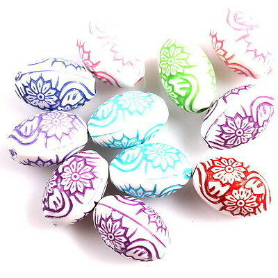 50x 113350 Assorted Colorful Carved Flower Oval Ball Charms Acrylic Spacer Bead