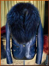 Giacca Giubbino Giubbotto in / di pelle con pelliccia donna