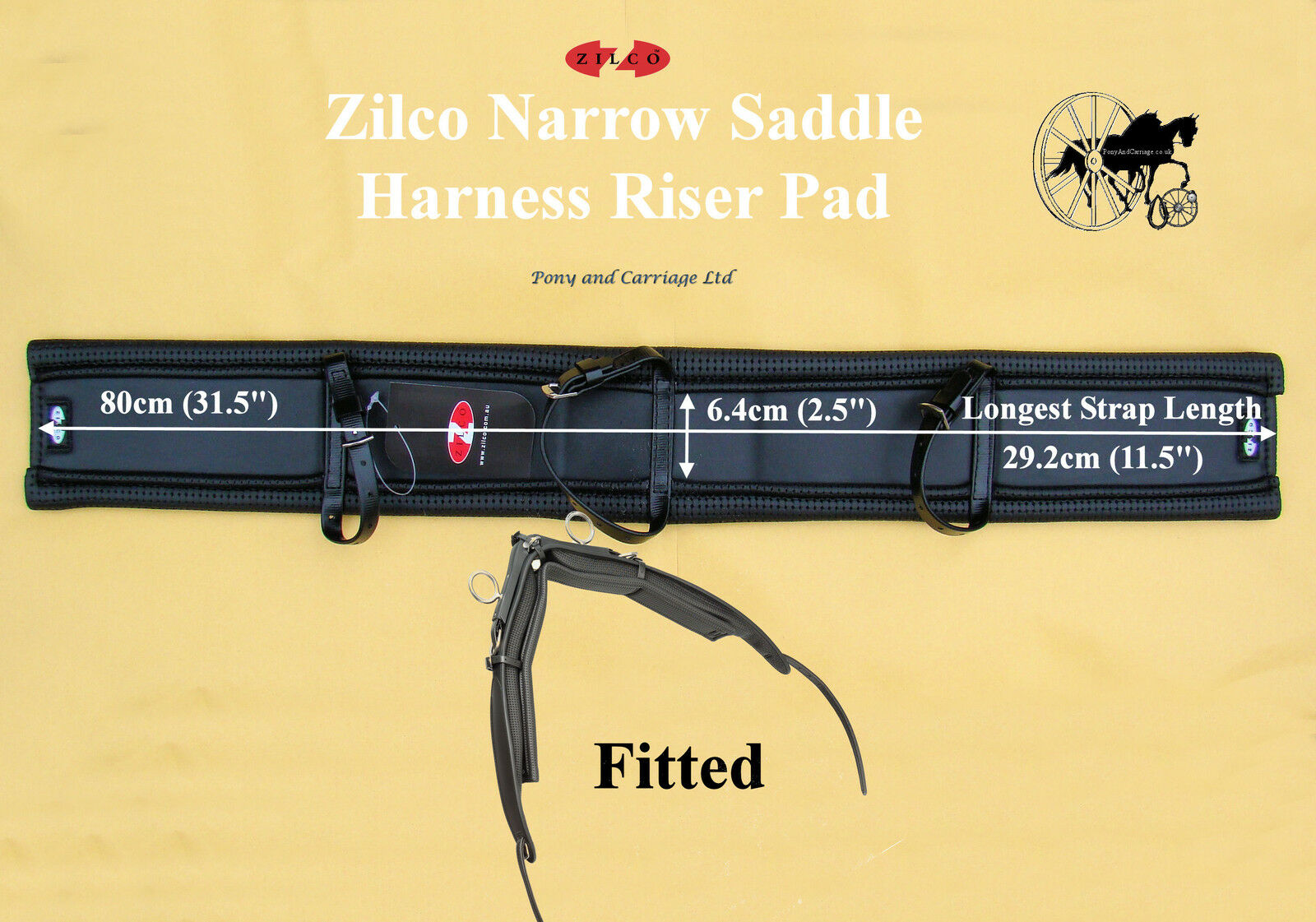 Zilco Horse Harness Saddle  Riser Pad Carriage Driving