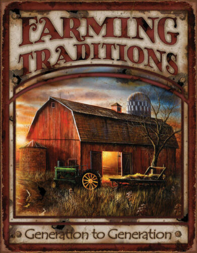 Farm Tradition Metal Tin Sign Barn Tractor Rustic Country Ranch Gift Picture