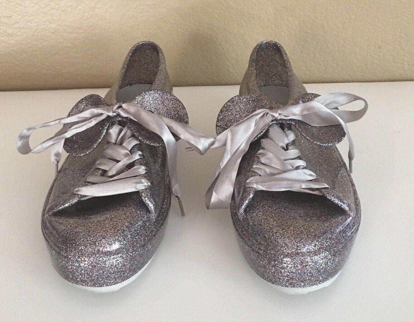 Melissa Be Disney Mouse Ears Sneakers Sneakers Sneakers shoes Silver Cloud Glitter Size 8 US 39 EU e5c17c