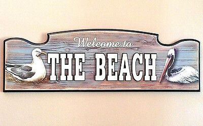 WELCOME TO THE BEACH Nautical Pelican Wall Plaque Hanging Sign Coastal Beach