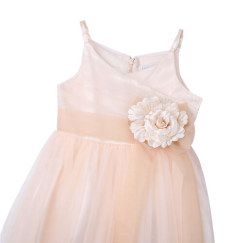 Girls Princess Bridesmaid Dress Baby Flower Kids Party Rose Bow Wedding Dresses