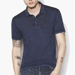 John-Varvatos-Star-USA-Men-039-s-Short-Sleeve-Peace-Sign-Polo-Shirt-Burnout-Indigo