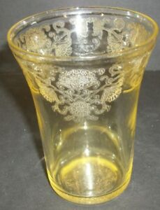 Hazel-Atlas-Yellow-Depression-Florentine-4-1-4-034-Drinking-Glass-Tumbler