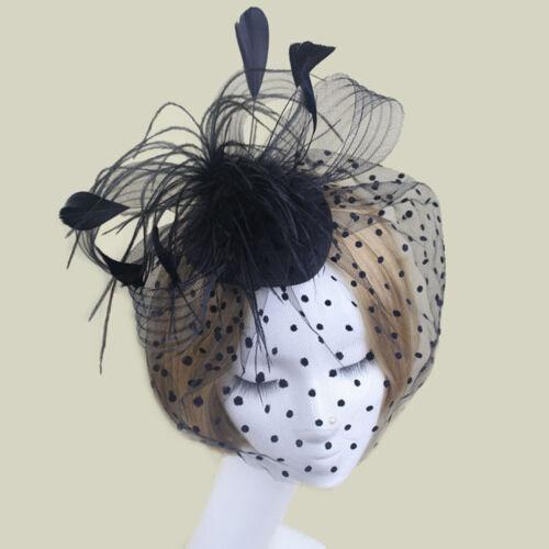 Femmes oiseau cage Pince à cheveux Plume Chapeau avec visage voile noire