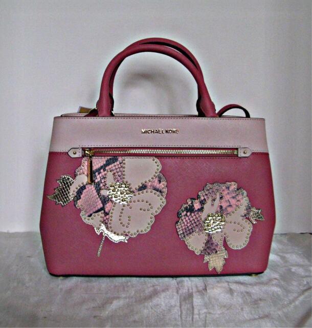 2484bc59bb28 Michael Kors Hailee Tulip Leather Beaded Medium Satchel bag ...