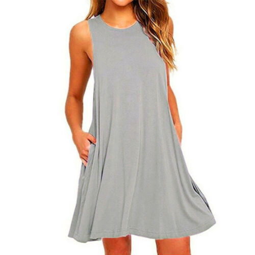 Ladies Loose Fit Sleeveless Dress Round Neck Casual A-line Swing Holiday Dresses