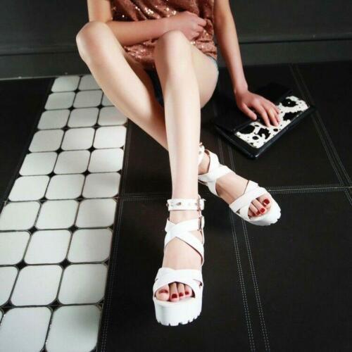 Womens Roman Chunky Heels Punk Rivets Sandals Platform Cross-Strap Gothic Shoes