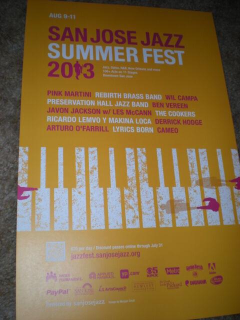 0 SAN JOSE summer jazz fest13 POSTER pink martini wil campa ben vereen CONCERT