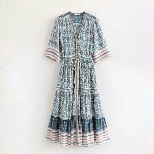 Womens Boho Floral Print Dresses Vintage Deep V Neck Ethnic Festival Dress