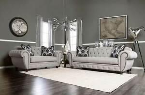 NEW-Oversize-Gray-Fabric-Living-Room-Furniture-2-piece-Sofa-Loveseat-Set-IGEF
