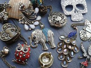 Vintage steampunk pendants on chain necklace image is loading vintage steampunk pendants on chain necklace heartsanimalslocketsantiquetreasure mozeypictures Gallery