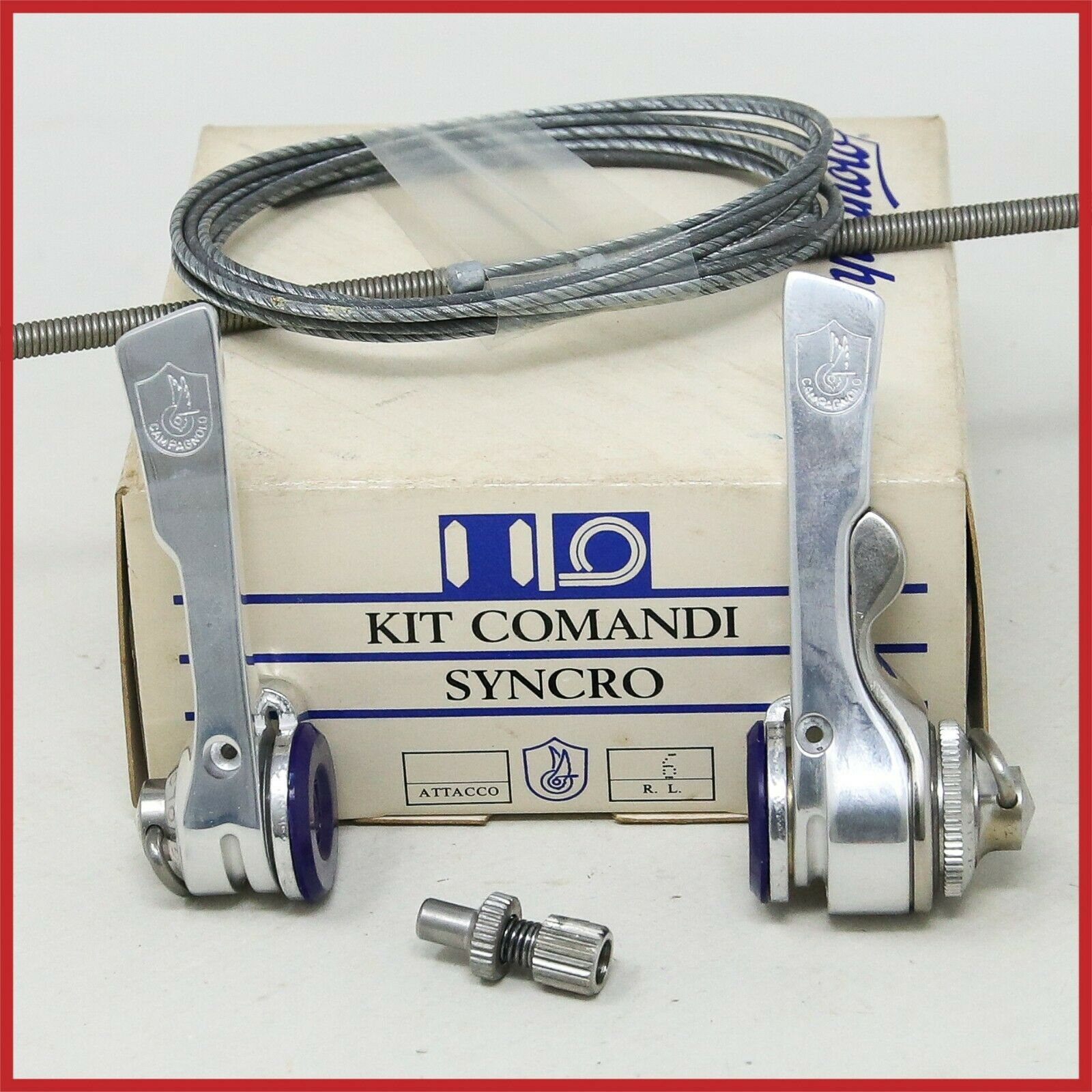 NOS CAMPAGNOLO CRECORD SYNCRO SHIFTERS 6s SPEED VINTAGE DOWNTUBE BRAZEON bicicletta