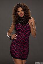 Party Club Wear Elegant Cocktail Black/Fuchsia Mini Dress UK size 10-12