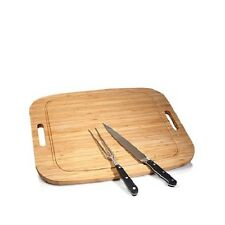 Wolfgang Puck Carving Set with Bamboo Carving Board Cutting Fork And Knife