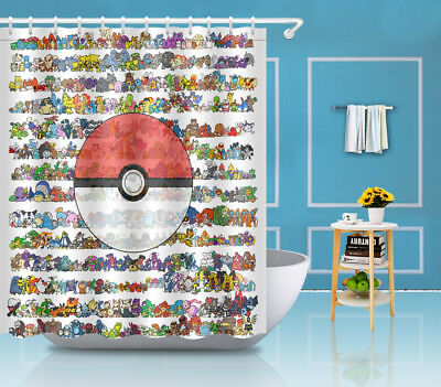 60X72/'/' Pokemon Ball Fabric Waterproof Bathroom Shower Curtain 12 Hooks YL938