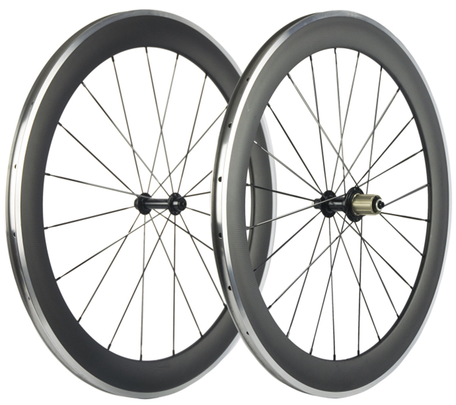 60mm Clincher Bicycle Wheels Aluminum Brake Surface Carbon Bike  Wheelset 700C  support wholesale retail