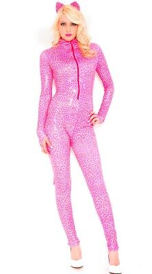 Music Legs hot pink leopard jumpsuit gloved costume
