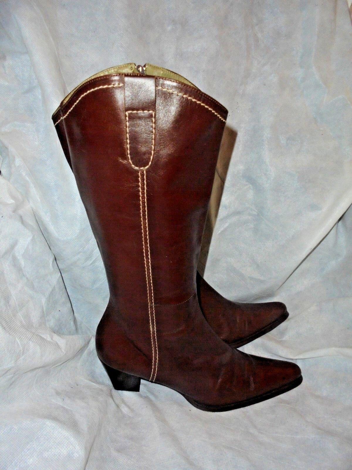 PLUMERS Damas Marrón Cuero Bota Cremallera Knee High Bota Cuero tamaño 7 EU 40 en muy buena condición 5c4229