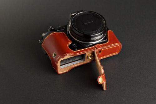 Original De Cuero Real completo cámara bolsa caso cubrir para Olympus Stylus 1 parte inferior abierta