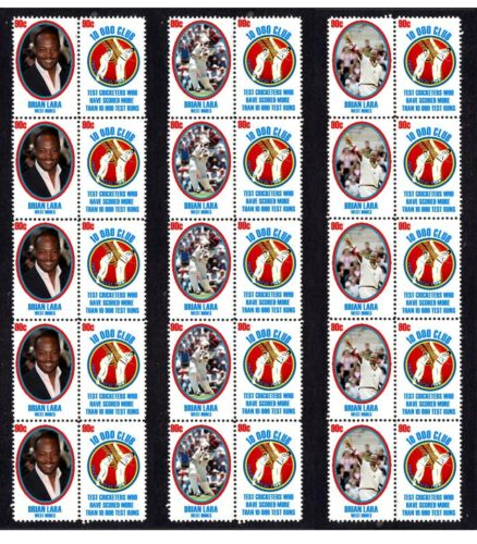 BRIAN LARA 10,000 TEST RUNS SET OF 3 MINT CRICKET STAMP STRIPS OF 10