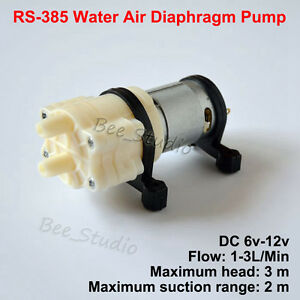 Dc 6v12v r385 mini water air pump diaphragm suction pump diy image is loading dc 6v 12v r385 mini water air pump ccuart Gallery