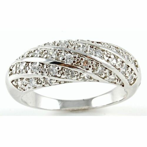Bijoux Micro Pave Tissé CZ Band Argent Sterling 925 Anniversaire Cocktail Ring