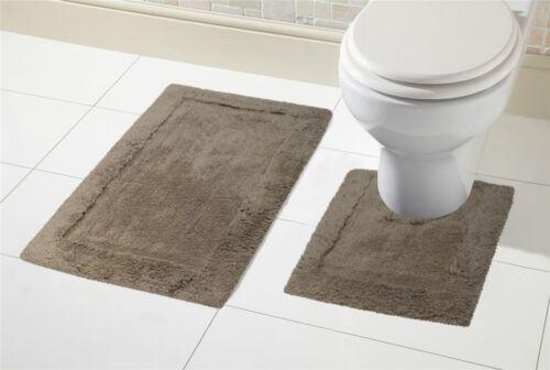 2 Piece 100/% Cotton Bath Mat Set Non Slip Pedestal /& Mat Set Toilet Bathroom