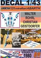 DECAL 1/43 FIAT 131 ABARTH W.ROHRL R.CODASUR 1980 WINNER (01)