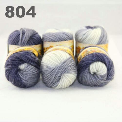 Sale New 6 Skeins x50gr Rainbows Multicolor Hand Knit Wool Yarn Wrap Scarves 04