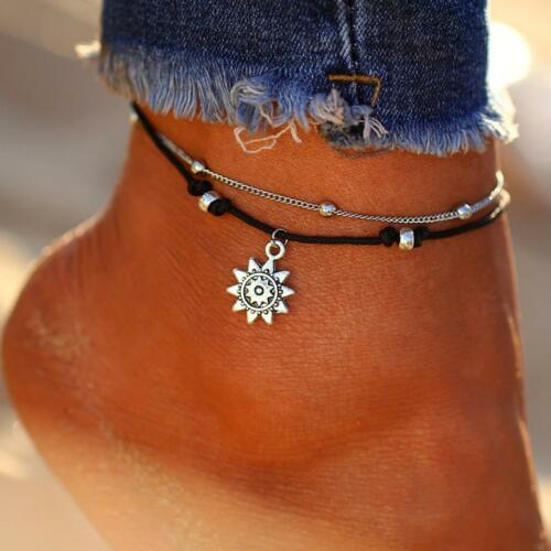 Chic Sun Pendent Anklet Corded Foot Chain Summer 1PC Gift Charm Women Jewelry FW