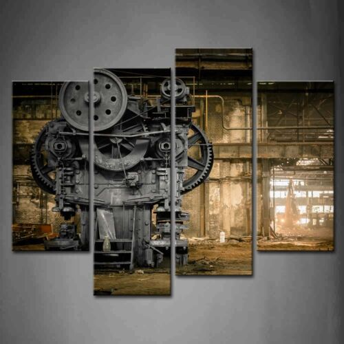 Framed Wall Art Metallurgical Firm Old Machine Pictures Mechanical Canvas Print