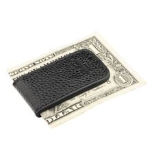 New Genuine Black Leather Magnetic Slim Pocket Money Clip Holder USA Seller