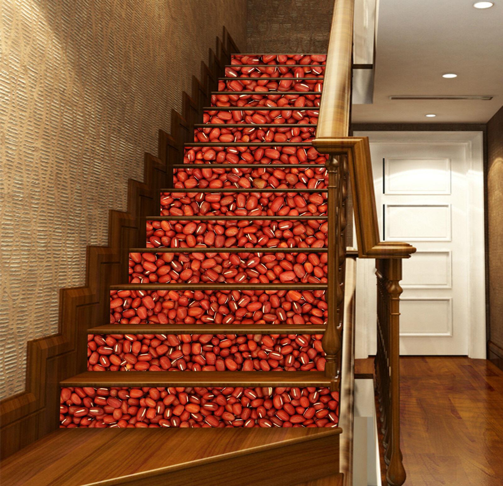 3D Rote Bohnen 074 Stair Risers Dekoration Fototapete Vinyl Aufkleber Tapete DE