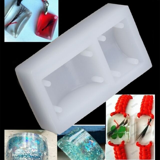 Rectangle Silicone Mold Bracelet Pendant Jewellery Making Mould Resin Hole DIY G