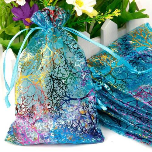 25//50//100pcs Coralline Organza Jewelry Pouch Wedding Party Favors Candy Bags